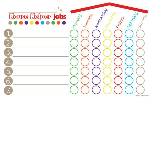 House Helper Chore Chart- Red/Brown
