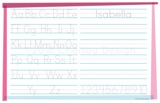 Pink Alphabet Printing Placemat