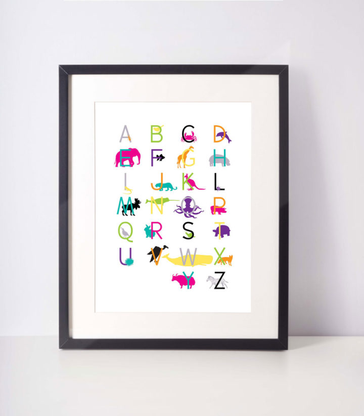 Framed-animalalphabet-16x20