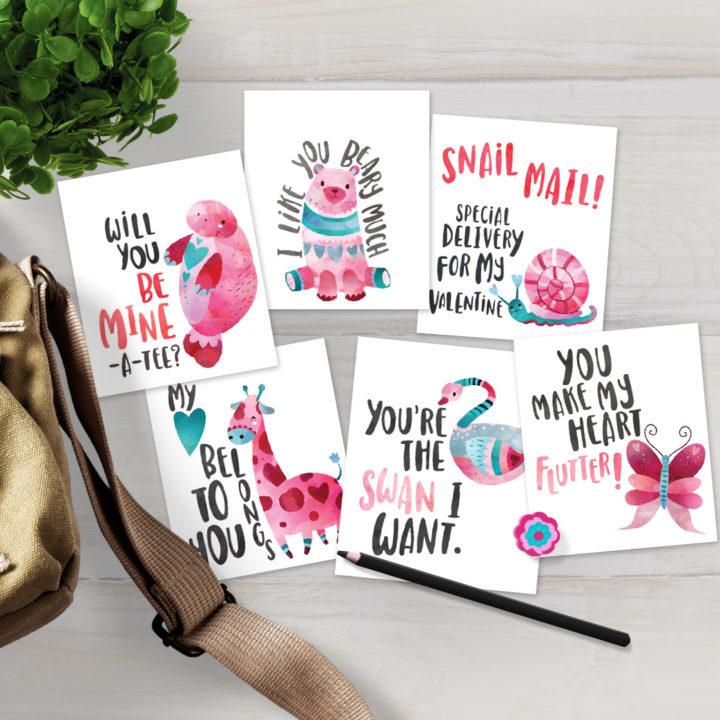 Cute Animal Printable Valentines