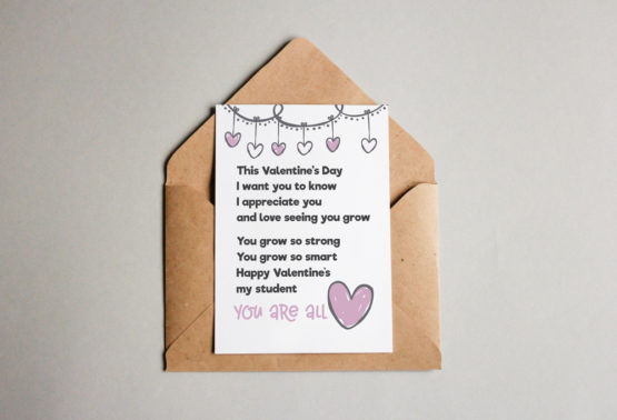 You are all heart- Valentines card for students