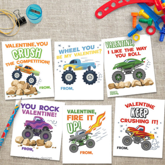 Monster Truck Valentines